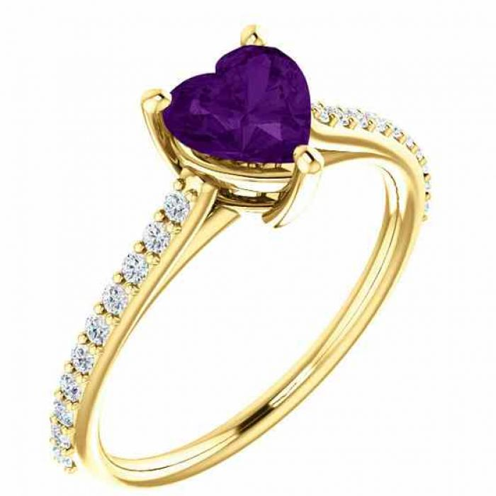 rings real purple amethyst heart and diamond ring in. Black Bedroom Furniture Sets. Home Design Ideas