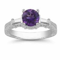 Round Amethyst/Baguette Diamond Engraved Engagement Ring, White Gold