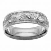 Platinum Flower Wedding Band Ring