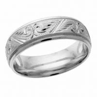 Silver Handcrafted Paisley Wedding Band Ring
