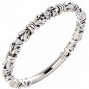 White Gold Knot Diamond Stackable Ring