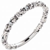 Silver Knot Diamond Stackable Ring