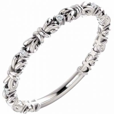White Gold Knot Diamond Stackable Ring -  - STLRG-123210W