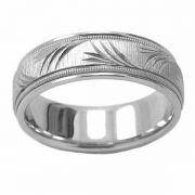 Platinum Peace Branch Wedding Band Ring