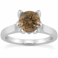 Smoky Quartz and Diamond Accent Solitaire Engagement Ring