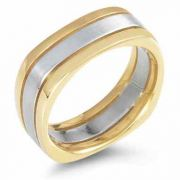Square Wedding Band Ring, 14K Two-Tone Gold