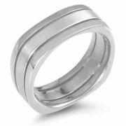 Square Wedding Band Ring, 14K White Gold