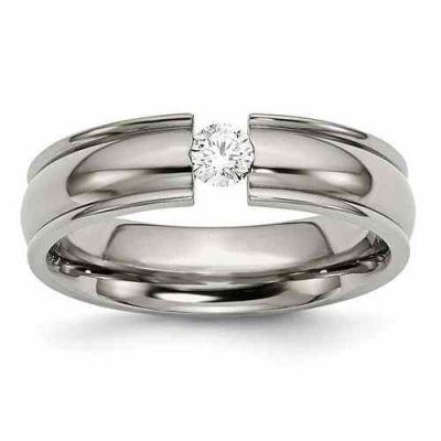 Tension-Set Titanium and Diamond Wedding Band Ring -  - QGRG-TB173AA