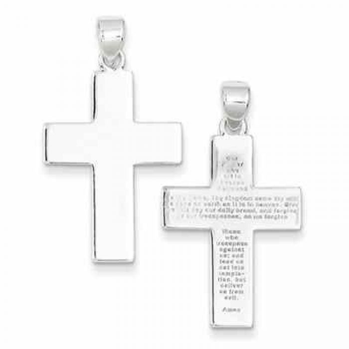 925 Sterling Silver Gorgeous Polished Hammered Cross Pendant