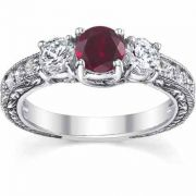Three Stone Diamond and Ruby Floret Engagement Ring, 14K White Gold