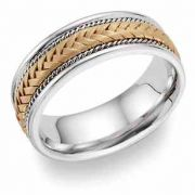 Titanium and 14 Karat Gold Woven Wedding Band