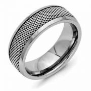 Titanium and Stainless Steel Mesh Wedding Band Ring