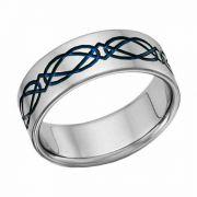 Titanium Celtic Wedding Band Ring in Blue