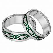 Titanium Celtic Wedding Band Ring Set in Green
