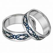 Titanium Celtic Wedding Band Set in Blue