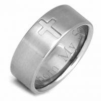 Titanium Cross Wedding Band Ring