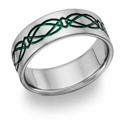 Titanium Irish Green Celtic Wedding Band -  - TI-CK19-Green