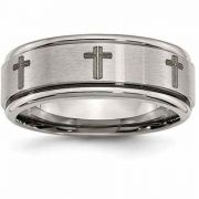 Titanium Laser Etched Cross Wedding Band