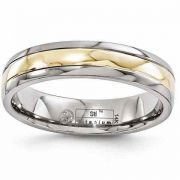 Titanium Wedding Band Ring with 14K Gold Inlay