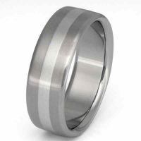Titanium with Platinum Inlay Wedding Band Ring