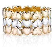 Triple Heart Wedding Band Ring, 14K Tri-Color Gold