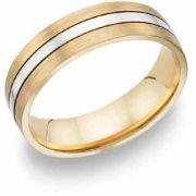 Two-Tone Brushed and Polished Wedding Band, 14K Gold
