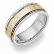 Two-Tone Brushed Hammered Wedding Band Ring in 14K Gold