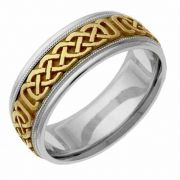 Two-Tone Gold Celtic Weave Wedding Band Ring