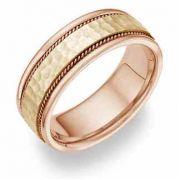 Two-Tone Hammered Wedding Band Ring - 14 Karat Gold