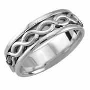 Sterling Silver Unbroken Infinity Wedding Band Ring
