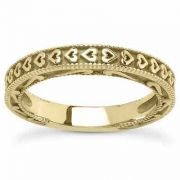 Unique Hearts Wedding Band in 14K Yellow Gold