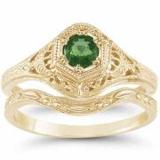 Victorian Antique Emerald Wedding Engagement Ring Set 14K Yellow Gold
