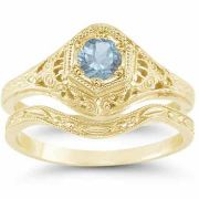 Victorian Aquamarine Wedding Ring Engagement Ring Set 14K Yellow Gold