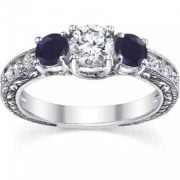 Victorian Sapphire/Diamond 3 Stone Engagement Ring 14K White Gold