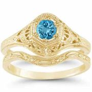 Victorian Swiss Blue Topaz Wedding Engagement Ring Set 14K Yellow Gold