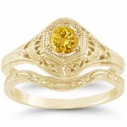 Victorian Yellow Citrine Wedding/Engagement Ring Set, 14K Yellow Gold