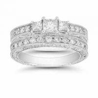 Platinum 1.38 Carat Three Stone Princess Cut 'Floret' Bridal Ring Set