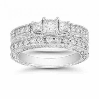 Platinum 1.38 Carat Three Stone Princess Cut  Floret  Bridal Ring Set -  - QDR-4-SET-PLAT