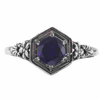 Vintage Floral Design Sapphire Ring in 14k White Gold