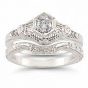 Vintage White Topaz Floral Ring Bridal Set in .925 Sterling Silver