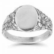 Vintage Flower Signet Ring in Sterling Silver