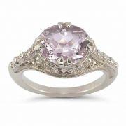 Vintage Rose Kunzite Ring in .925 Sterling Silver
