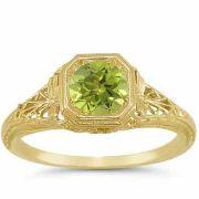 Vintage-Style Filigree Light Green Peridot Ring in 14K Yellow Gold