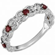 Vintage-Style Ruby Scroll Ring in 14K White Gold
