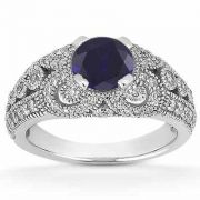 Vintage Style Sapphire and Diamond Engagement Ring