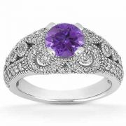 Vintage Style Tanzanite and Diamond Engagement Ring
