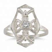 Vintage White Topaz Cross Ring in .925 Sterling Silver