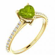 Vivacious Green Peridot Heart and Diamond Ring in Yellow Gold