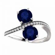 White Gold Sapphire and Diamond Two Stone Ring