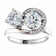 Two Stone Swirl Design Moissanite Engagement Ring in 14K White Gold